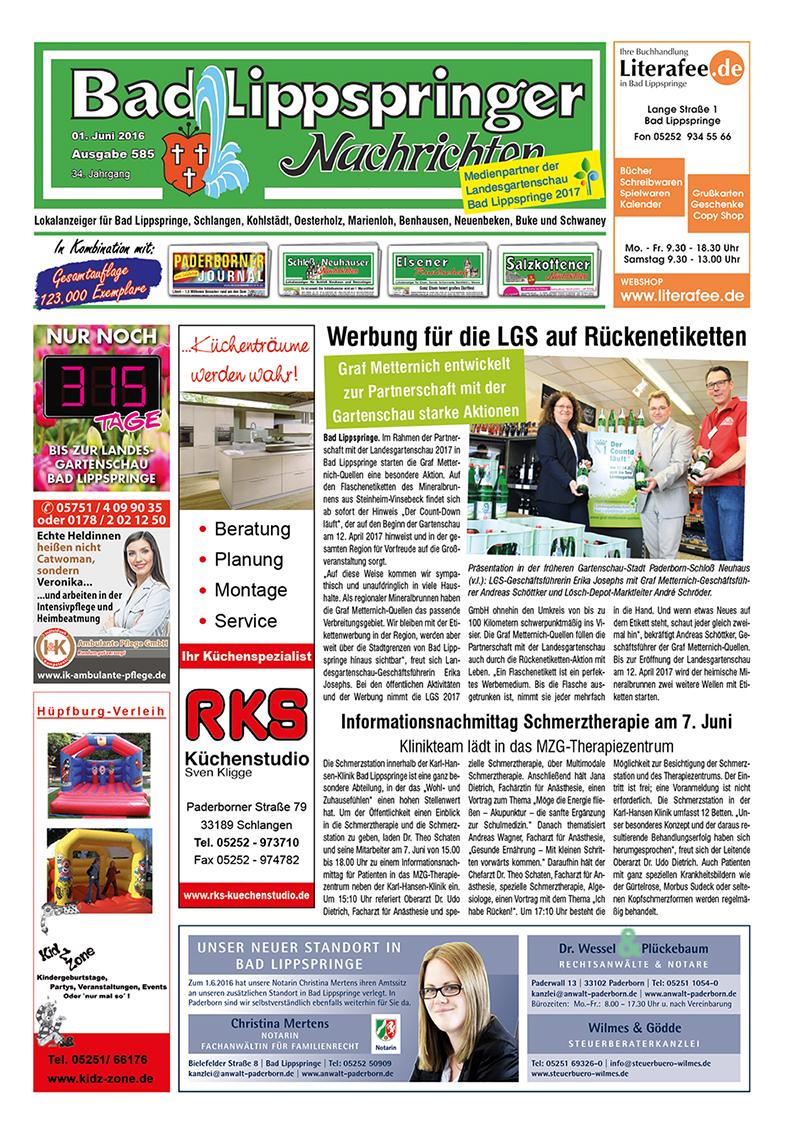Bad Lippspringer Nachrichten 585 vom 01.06.2016