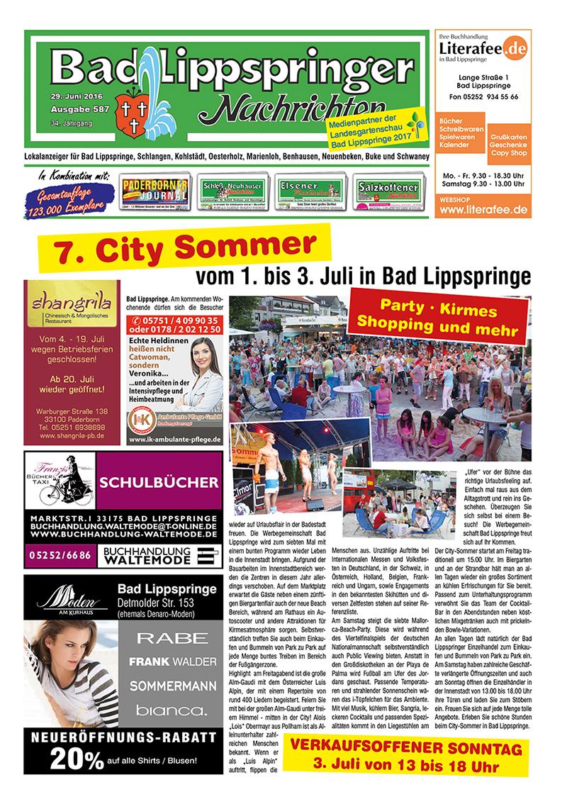 Bad Lippspringer Nachrichten 587 vom 29.06.2016