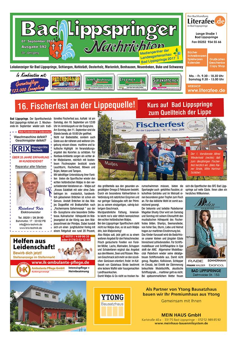 Bad Lippspringer Nachrichten 592 vom 07.09.2016