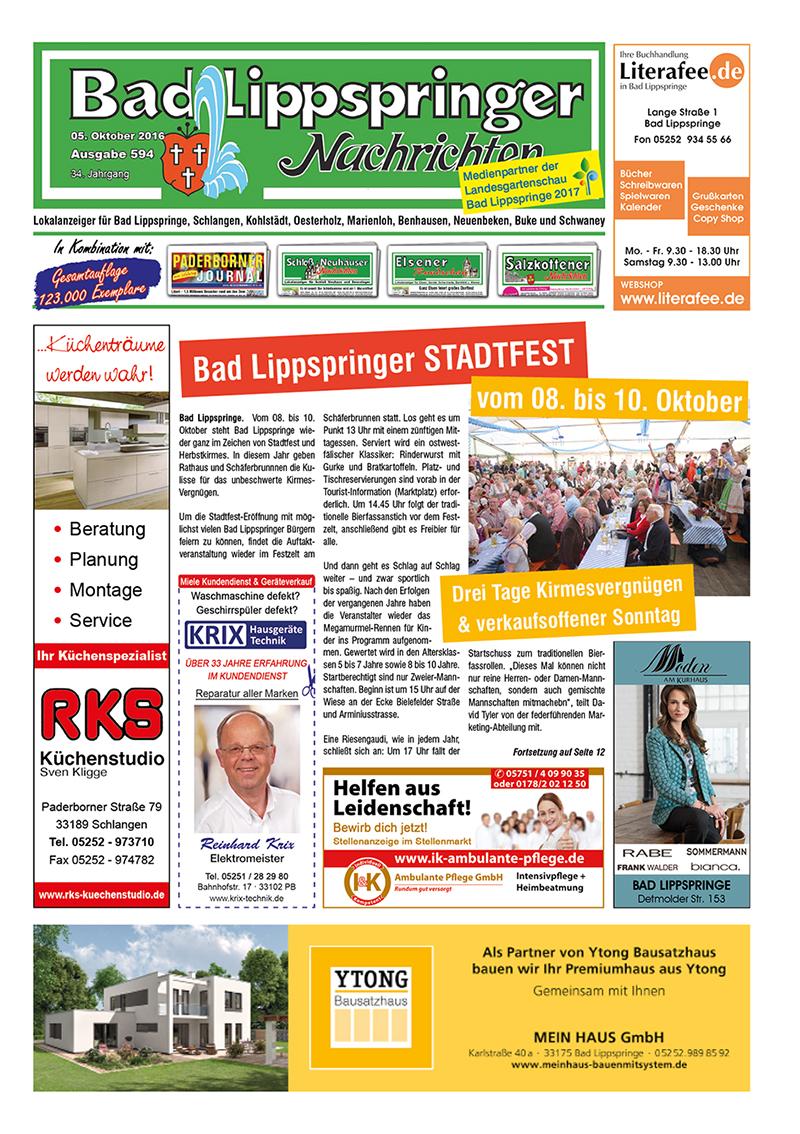 Bad Lippspringer Nachrichten 594 vom 05.10.2016