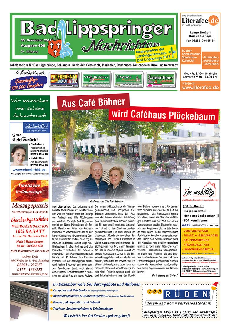 Bad Lippspringer Nachrichten 598 vom 30.11.2016