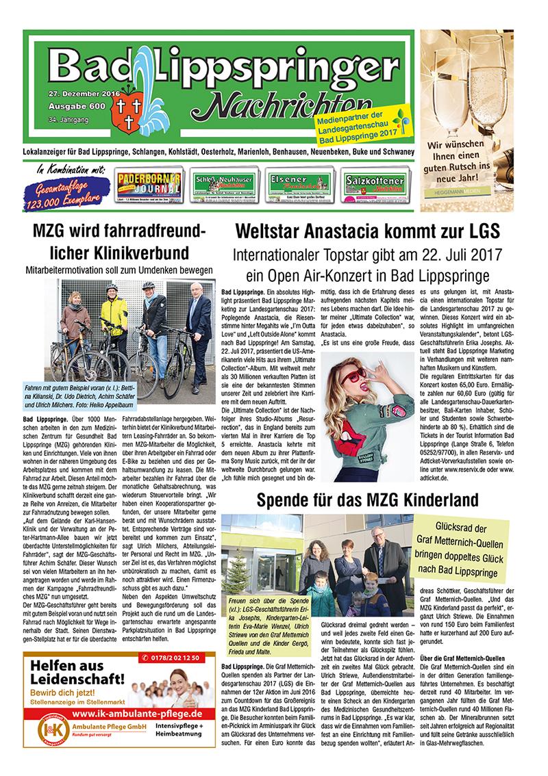 Bad Lippspringer Nachrichten 600 vom 27.12.2016