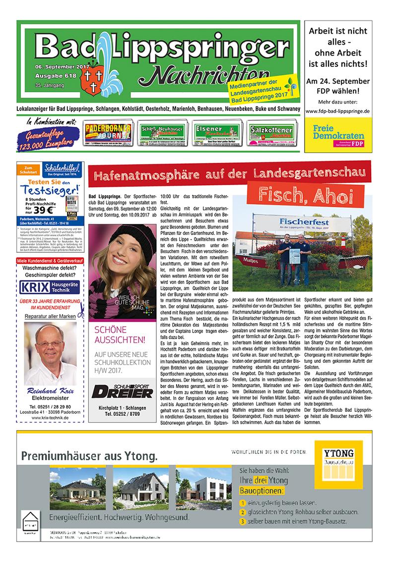 Bad Lippspringer Nachrichten 618 vom 06.09.2017
