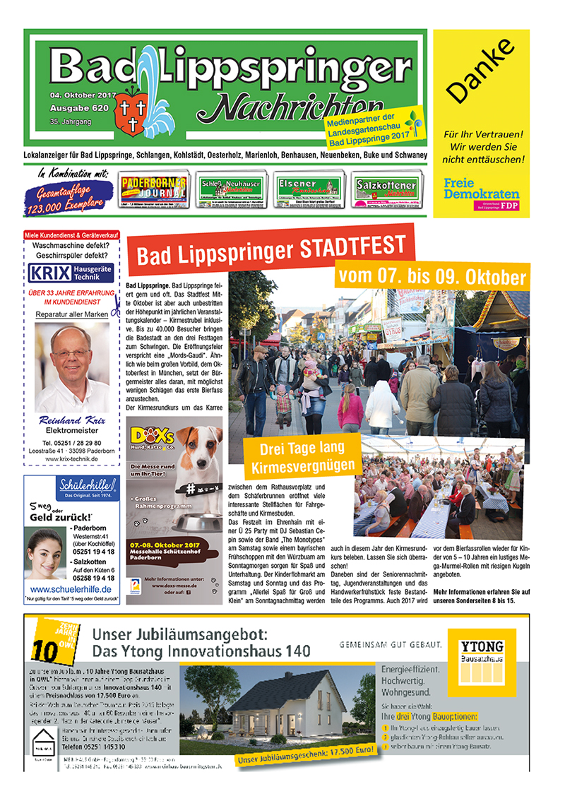 Bad Lippspringer Nachrichten 620 vom 04.10.2017