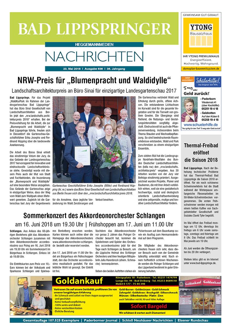 Bad Lippspringer Nachrichten 636 vom 23.05.2018
