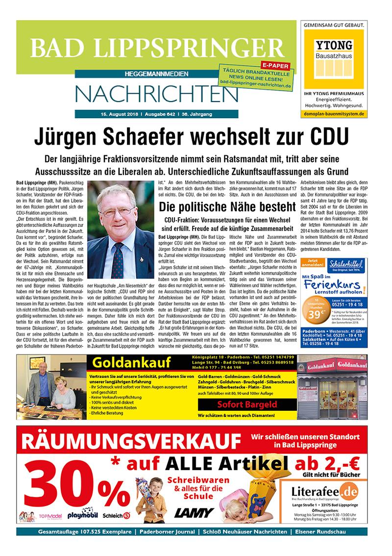 Bad Lippspringer Nachrichten 642 vom 15.08.2018