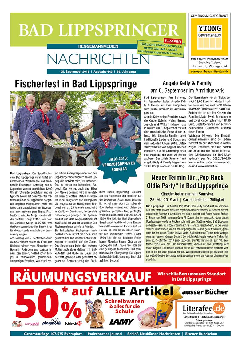 Bad Lippspringer Nachrichten 643 vom 05.09.2018
