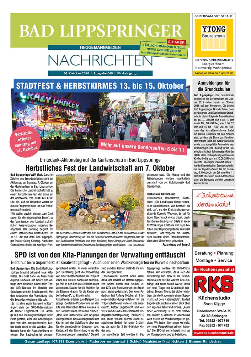 Bad Lippspringer Nachrichten 645 vom 02.10.2018