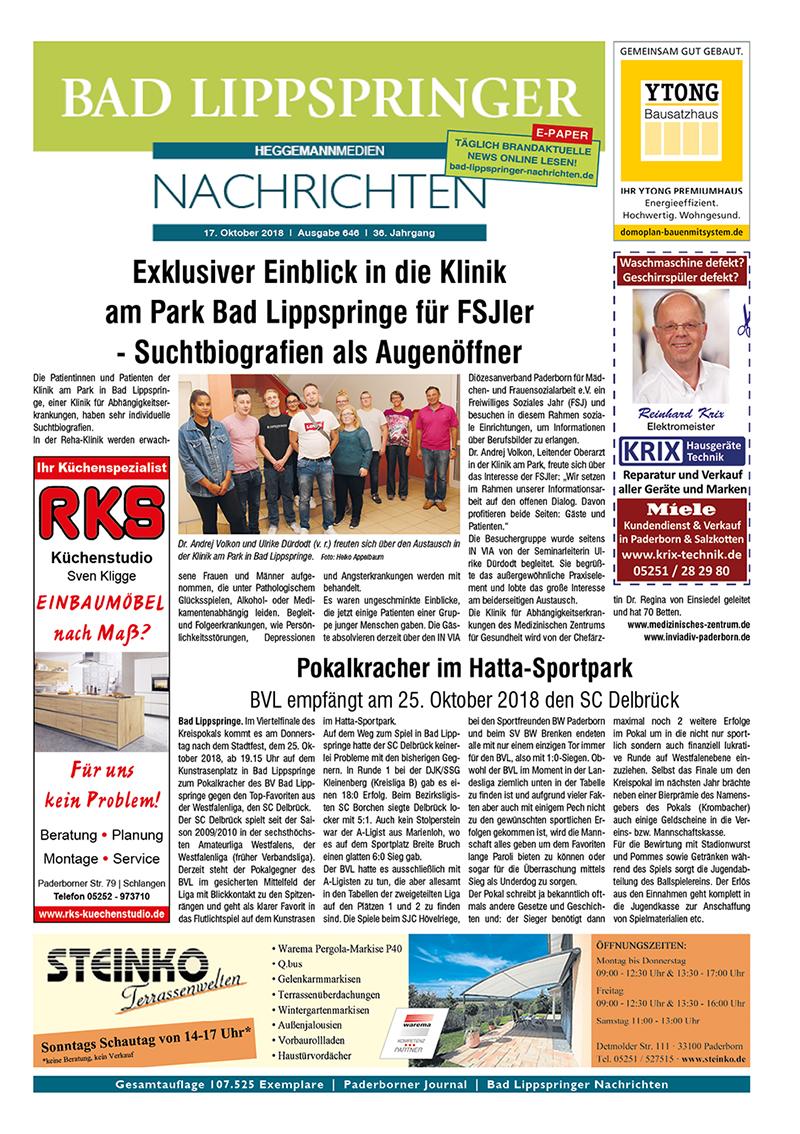 Bad Lippspringer Nachrichten 646 vom 17.10.2018