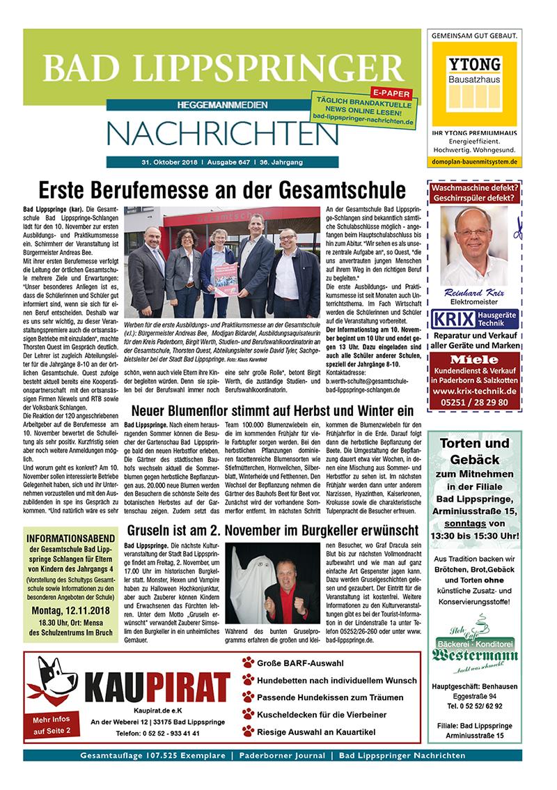 Bad Lippspringer Nachrichten 647 vom 31.10.2018