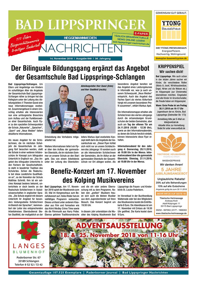 Bad Lippspringer Nachrichten 648 vom 14.11.2018