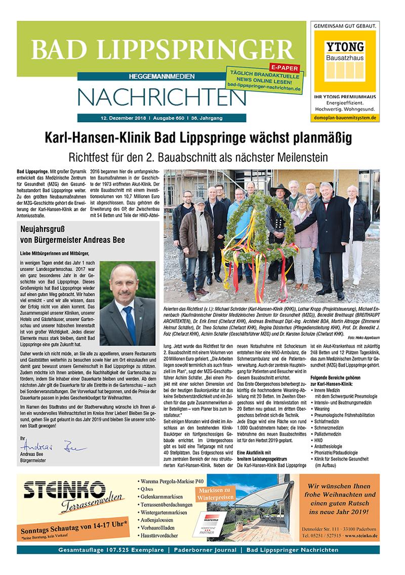 Bad Lippspringer Nachrichten 650 vom 12.12.2018
