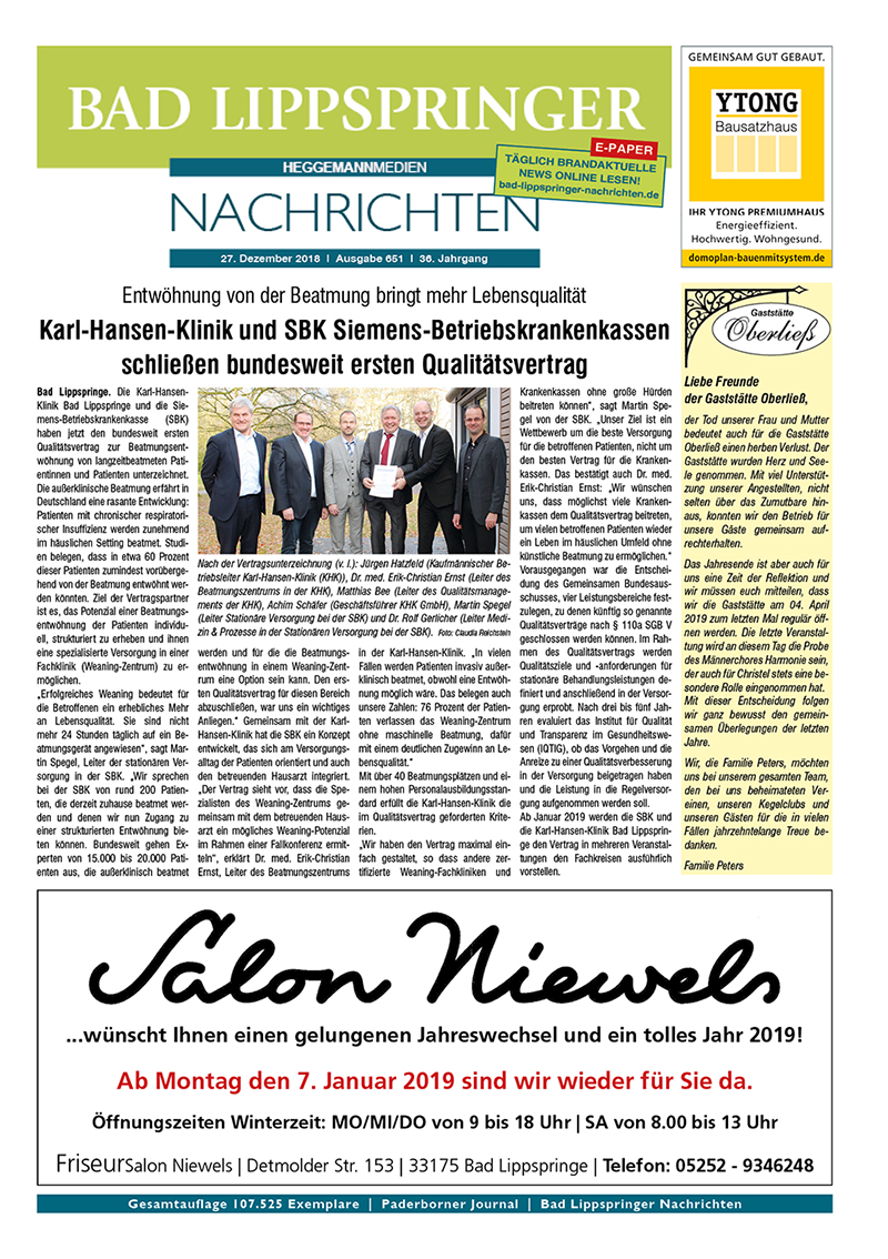 Bad Lippspringer Nachrichten 651 vom 27.12.2018