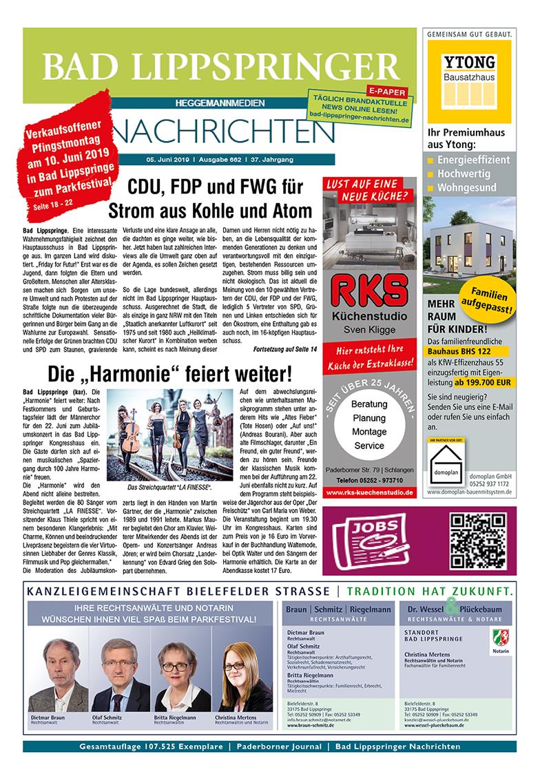 Bad Lippspringer Nachrichten 662 vom 05.06.2019