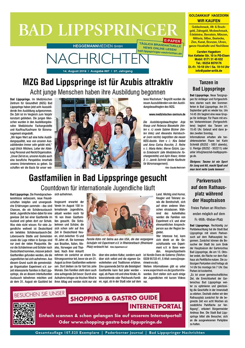Bad Lippspringer Nachrichten 667 vom 14.08.2019