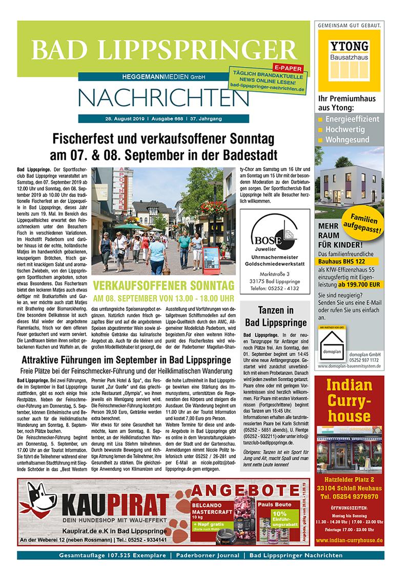 Bad Lippspringer Nachrichten 668 vom 28.08.2019