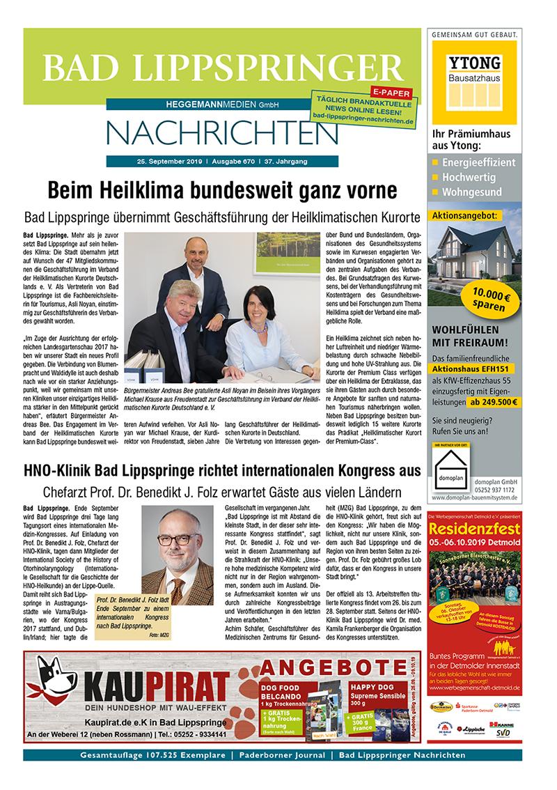 Bad Lippspringer Nachrichten 670 vom 25.09.2019