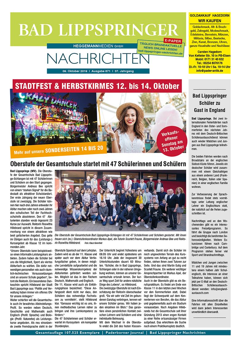 Bad Lippspringer Nachrichten 671 vom 09.10.2019