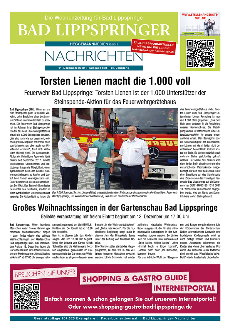 Bad Lippspringer Nachrichten 680 vom 11.12.2019