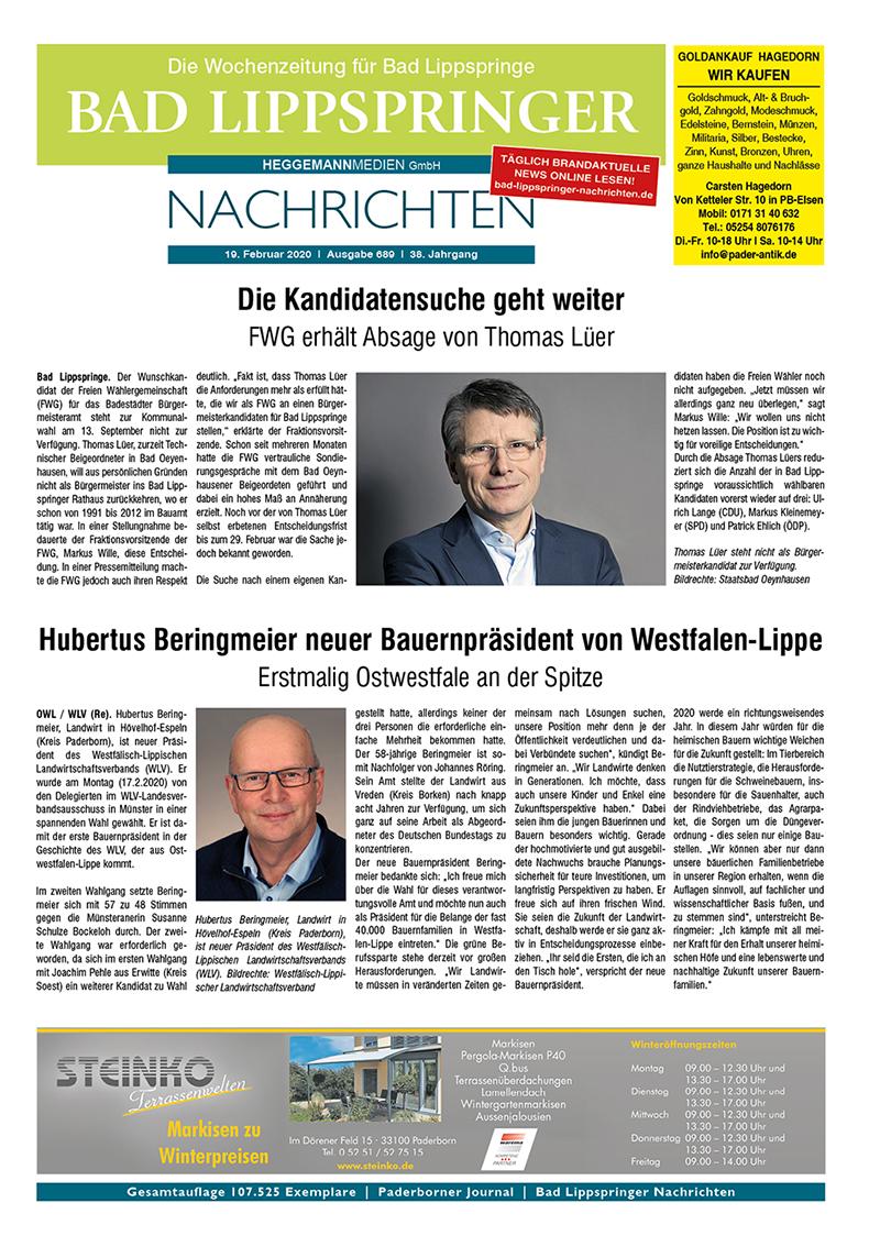 Bad Lippspringer Nachrichten 689 vom 19.02.2020
