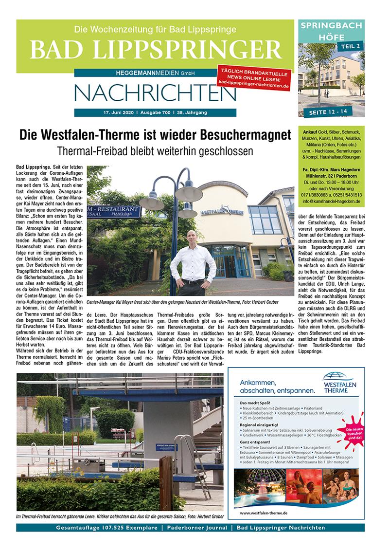 Bad Lippspringer Nachrichten 700 vom 17.06.2020