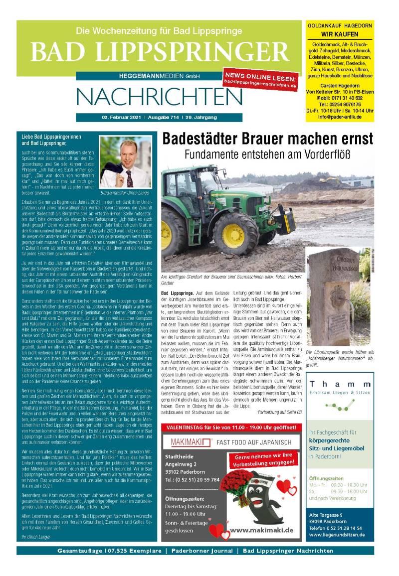 Bad Lippspringer Nachrichten 714 vom 03.02.2021